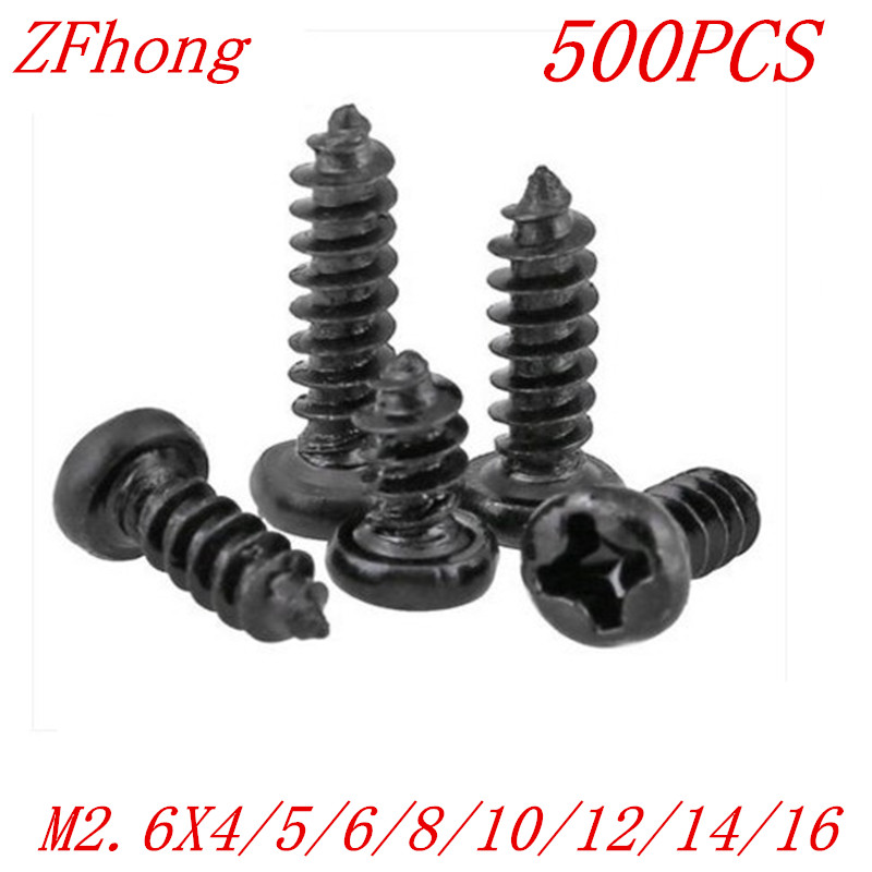 500PCS M2.6*4/5/6/8/10/12/14/16 2.6mm black micro electronic screw cross recessed phillips round pan head self tapping screw 500pcs m2 4 5 6 8 10 12 2mm nickel plated micro electronic screw cross recessed phillips round pan head self tapping screw