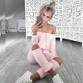2016 Moda Plus Size Fora Do Ombro Bandagem Vestido de Manga Longa Elegante Bodycon Jumpsuit Romper Outono de Fitness Sexy Partido Mulheres Macacão