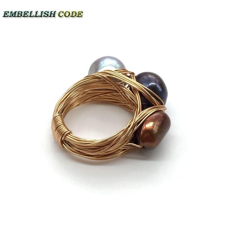 Nouveau design nid d'oiseau style petite taille baroque perles gris paon marron café couleur avec fil d'or main faire anneau - 3