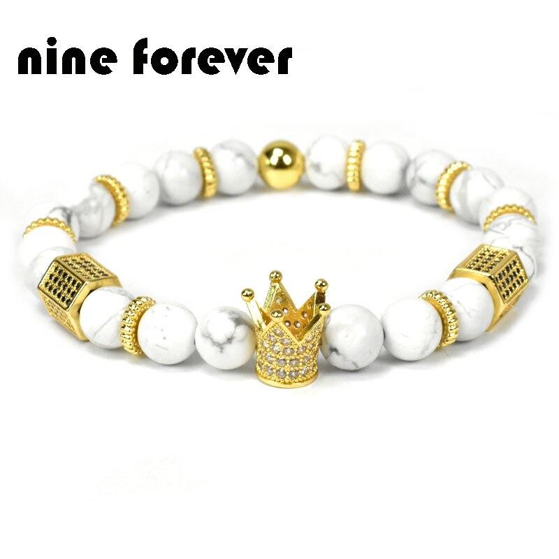 Neun für immer naturstein perlen armband männer schmuck könig krone charme armbänder für frauen pulseira masculina bileklik