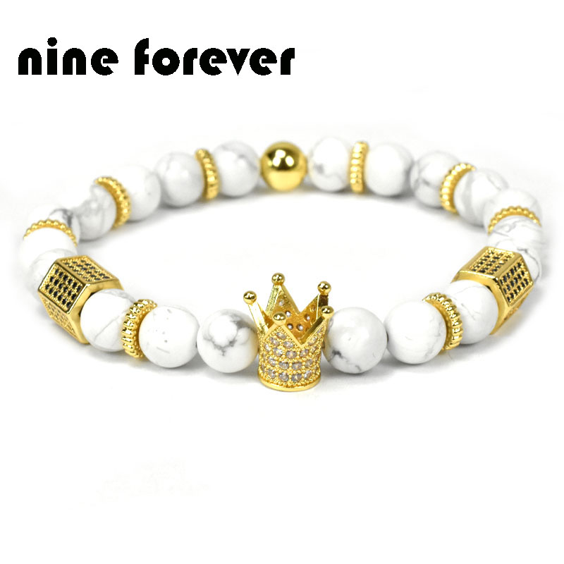 Nine forever natural stone beads bracelet men jewelry king crown charm bracelets for women pulseira masculina bileklik