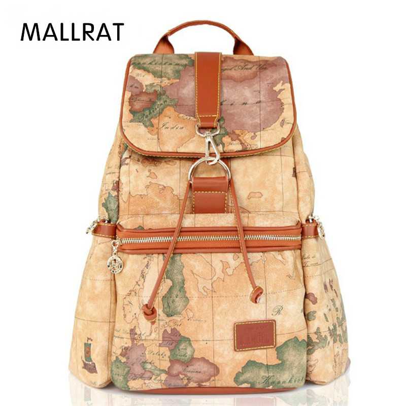 MALLRAT Fashion Vintage High Quality World Map Backpack Women Backpacks Leather Backpack Printing Backpack for Girls  цена и фото