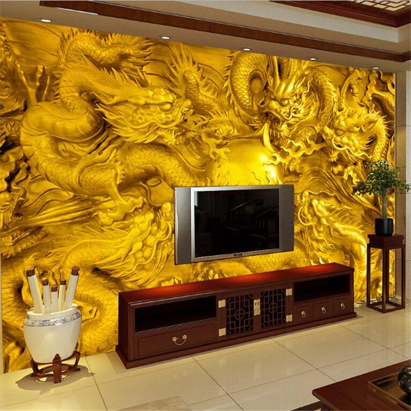 Beibehang Golden Dragon 3d Wallpaper Custom Mural 3 D