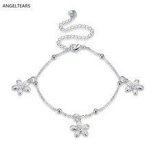 Summer hot sale silver color flower charm anklet fashion woman foot bracelet beautiful designer jewelry tornozeleira