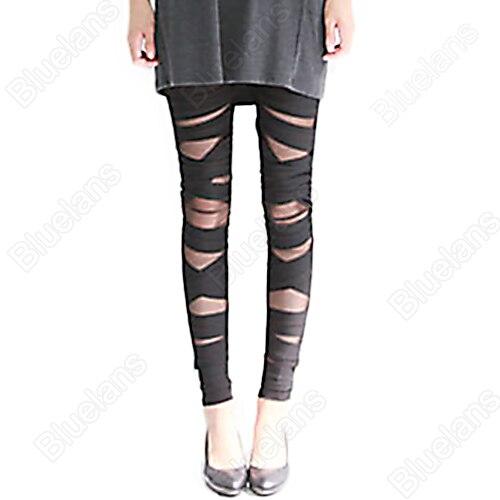 Bluelans New Fashion Women's Legging Ripped Cut-out Bandage Sexy Pants Leggings Black