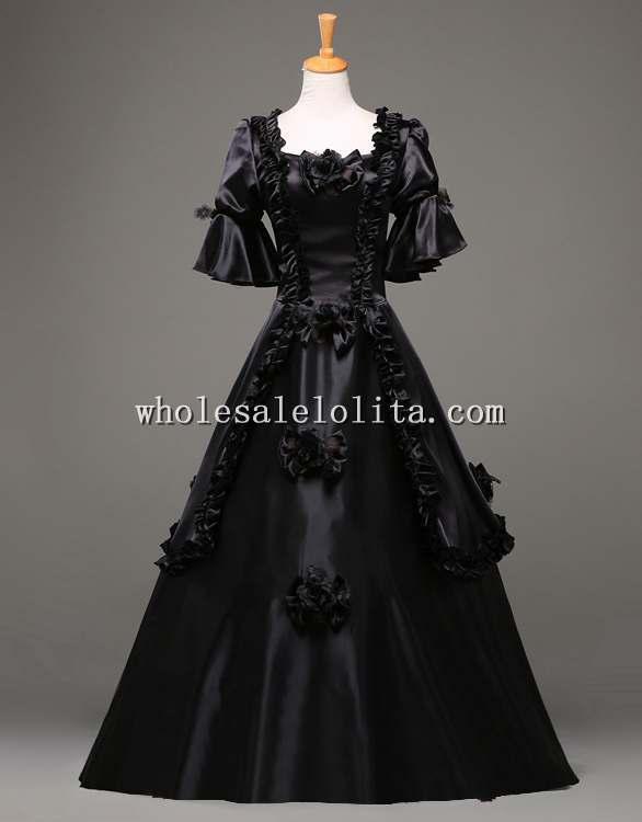 18 век Готический Черный винтажный бальный наряд театральная одежда костюм на Хэллоуин