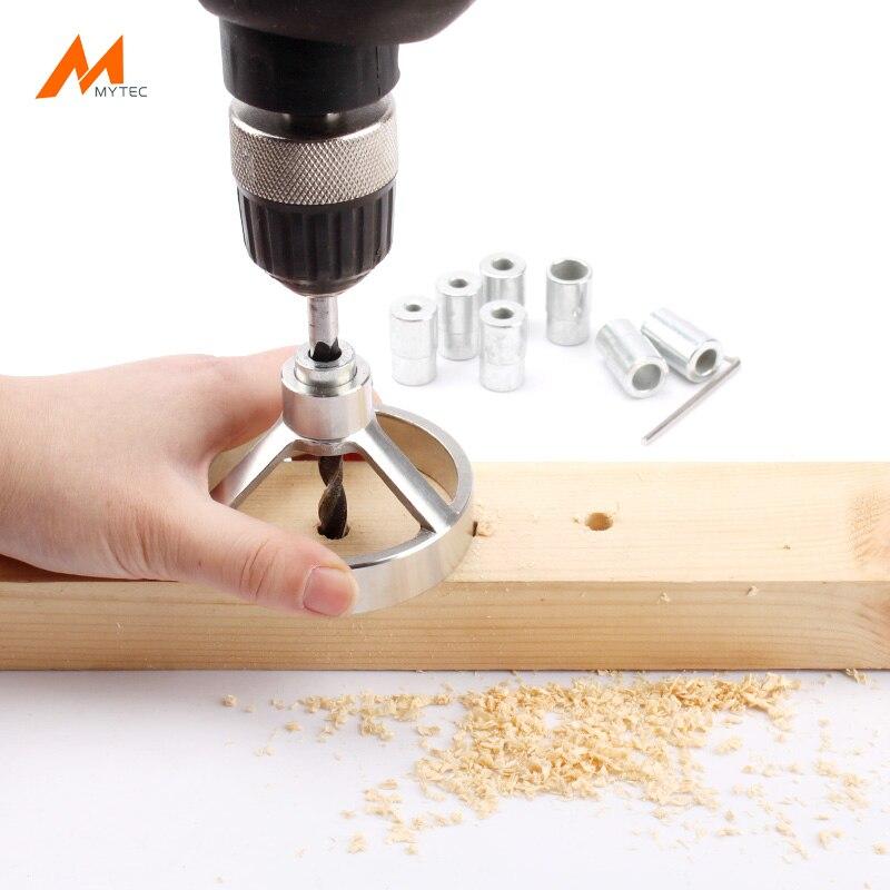 Nueva carpintería Acero inoxidable precisa agujero guía de perforación carpintería Dowel Jig Kit con 7 Unid taladro parada y 7 piezas bujes