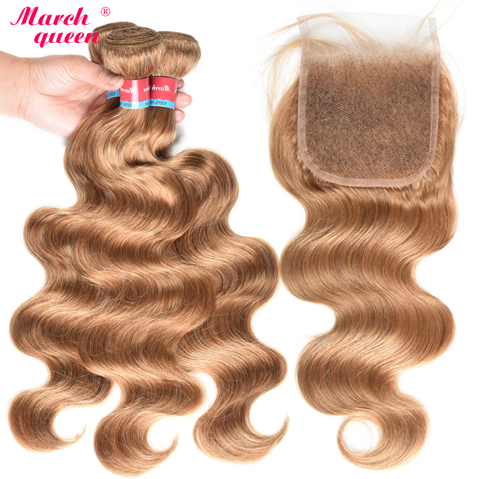 March Queen Honey Blonde Indian Human Hair Bundles With Closure #27 Body Wave 3 Bundles With Lace Closure Raw Indian Hair Weft