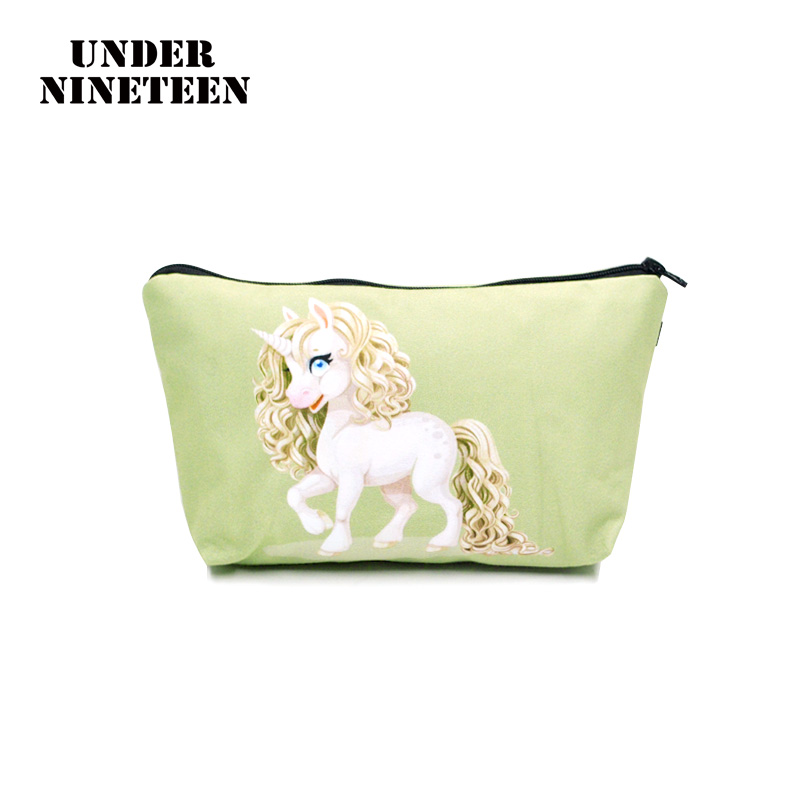 Under Nineteen 2017 Cartoon Unicorn Travel Makeup Bag Cosmetic Bags Neceser Toiletry Bag Organizer Pouch Wholesale Custom Logo