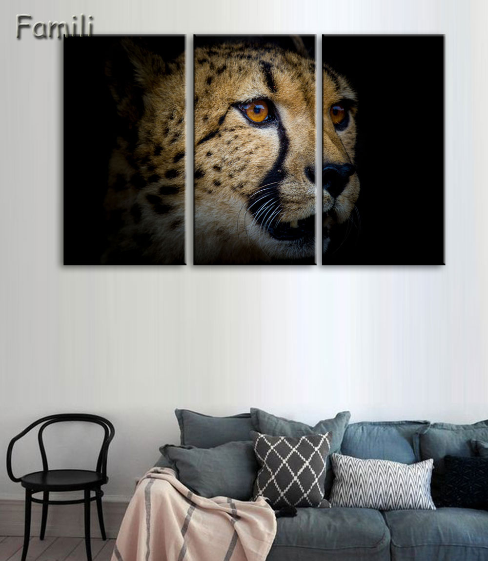 3 Panel HD Printed Modular Painting Cheetah Canvas Print