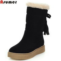 ASUMER 2017 Hot Sale New Arrive Women Boots Fashion Flock Cross Tied Mid Calf Boots Simple