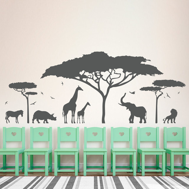 African Safari Wall Decal Vinyl Art Sticker Zoo Nature Giraffe Nursery Elephant Removable Wallpaper Bedroom Decor