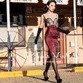 ENVÍO GRATIS Le Palais de La Vendimia 2016 Del Verano Elegante Sexy Negro Corsé de encaje de Cintura Alta Costura Pesada Vino Tinto Delgado Vestido mujeres