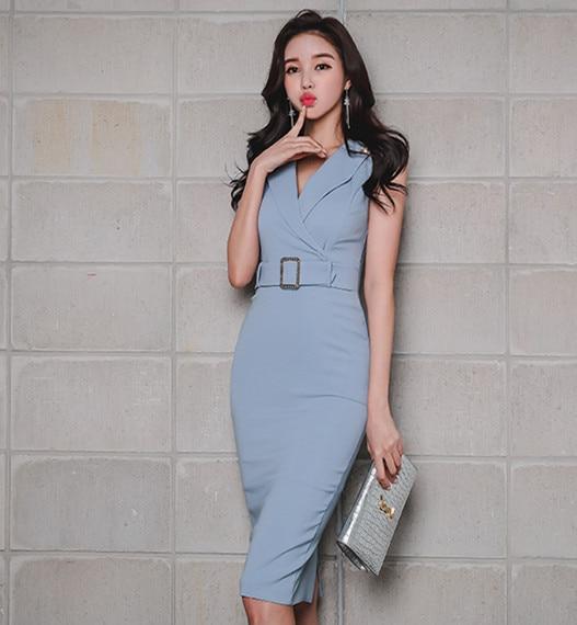 2018 New Women Summer OL Women Elegant Office Lady korean Dress with belt Vestido Casual Slim Basic Work Ladies Dresses