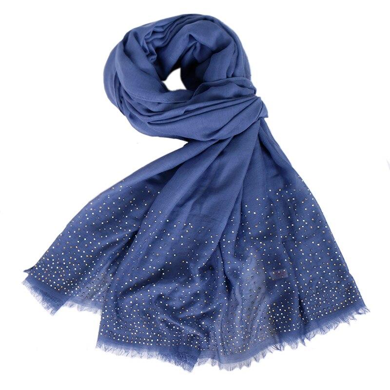 Soft Modal winter scarf Rhinestone solid shawl women fashion wraps head scarves muslim hijab pashmina muffler