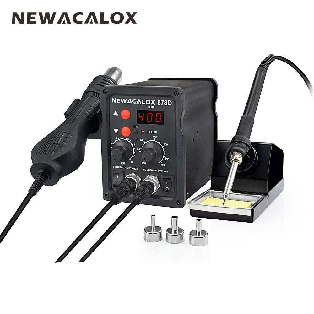 NEWACALOX EU Plug 220V 700W  Rework Soldering Station Thermoregulator  Soldering Iron Hot Air Desoldering Gun Welding Tool Kit elecall esi 130 30w us plug 220v 50hz homoiothermic durable electric iron gun welding soldering iron tool