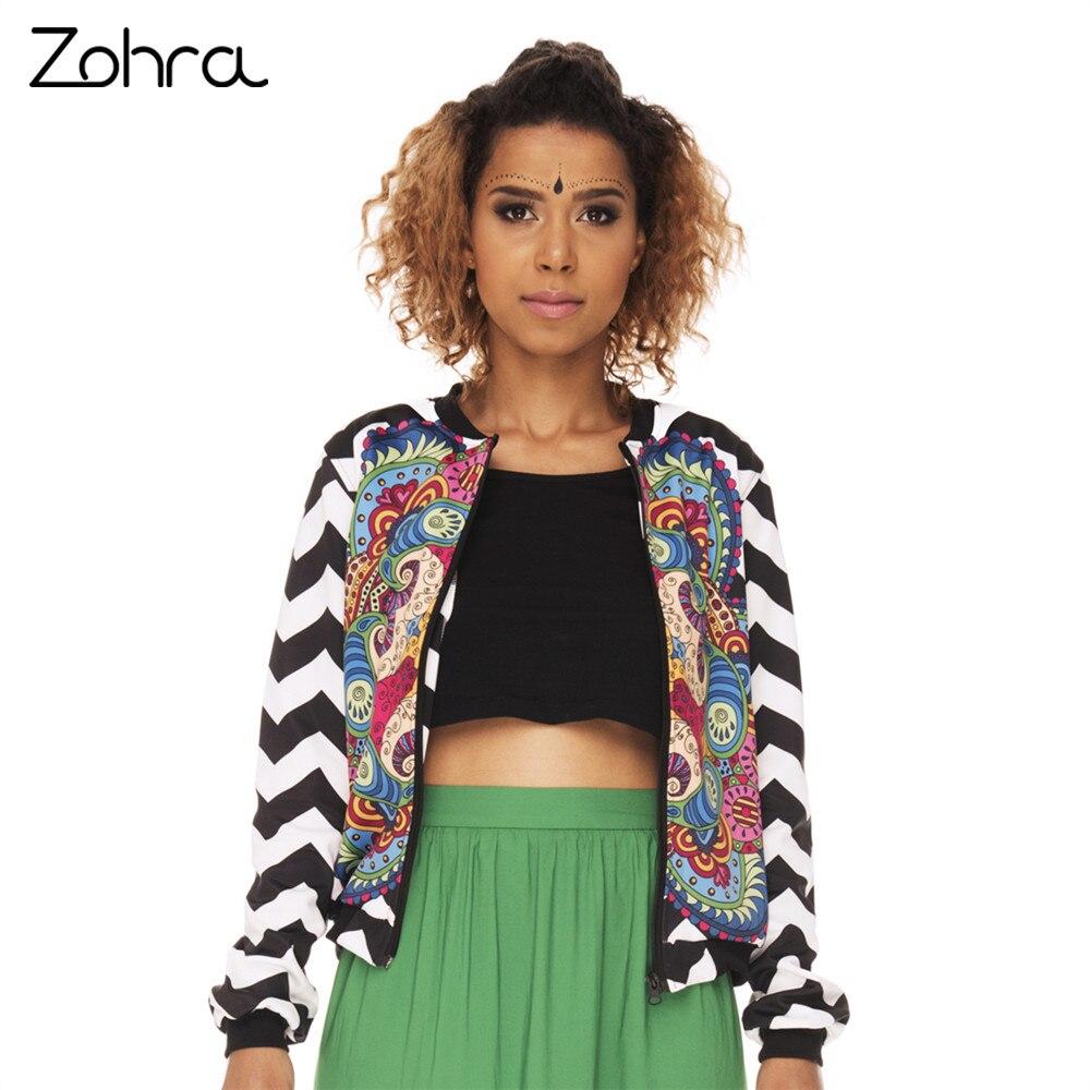 Zohra 2017 New Arrival Women Bomber Jacket Mandala Colorfull Zigzag Printing Jaqueta Feminina Fashion Basic Jacket for Woman