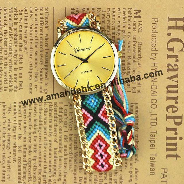 100pcs/lot Fashion Handmade Rope Bracelet Women Watch  Hand-Woven Watches Ladies Quarzt Braided GENEVA Dress WristWatches