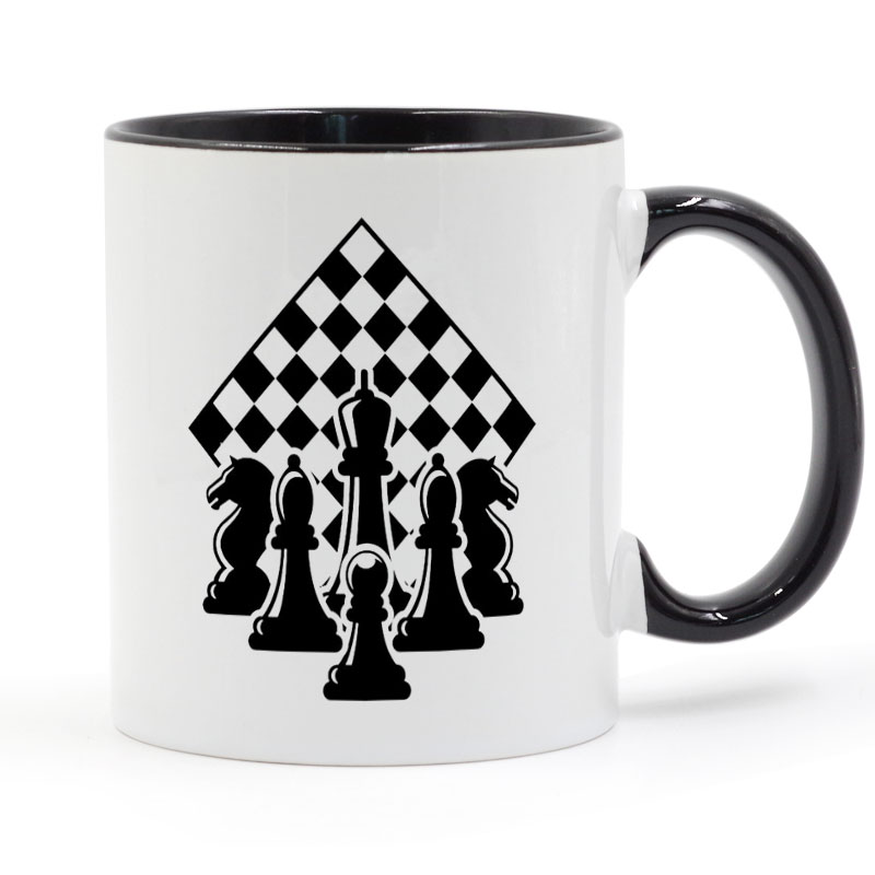 Chess Strategy Game Black and White Chessboard Mug Coffee Milk Ceramic Cup Creative DIY Gifts Home Decor Mugs 11oz T683