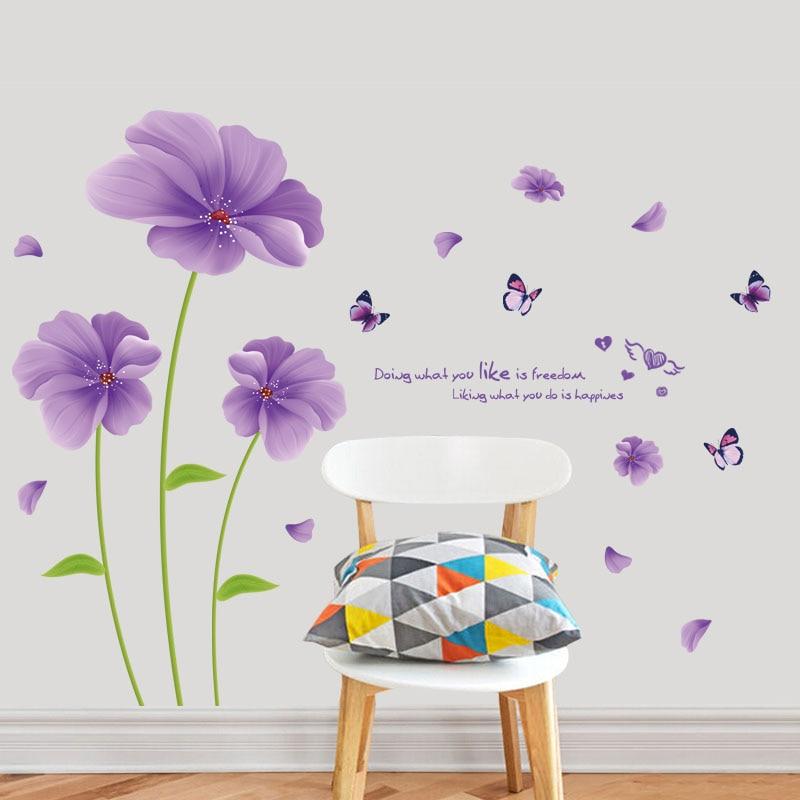 Fundecor Viola Fantasy Fiori Farfalla Foglia Di Pvc Adesivi Da Muro
