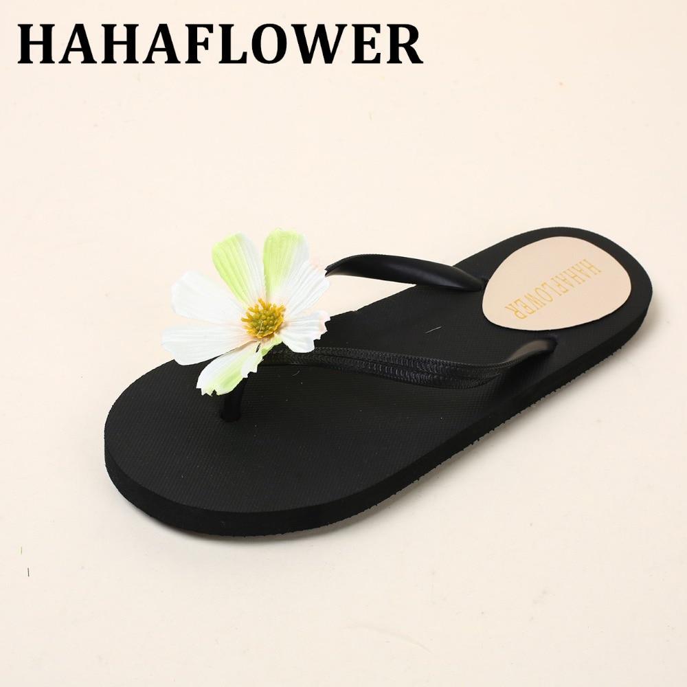 HAHAFLOWER Fashion Designer Sweet Sandals 2017 New Women Summer Daisy Flower Slippers Beach Flip Flops Flat Shoes