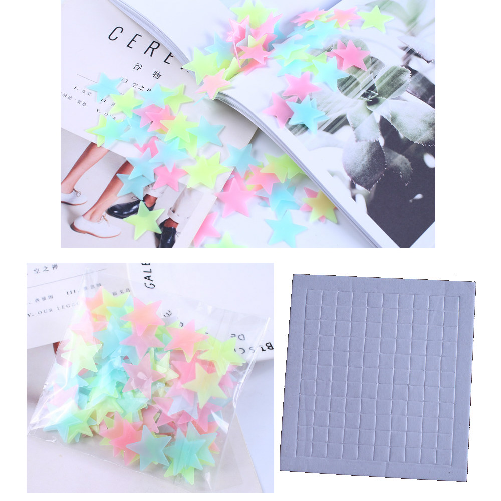 Glow In The Dark Plastic Stars Ceiling Wall Art Fun Luminous Stickers YELLOW 3cm
