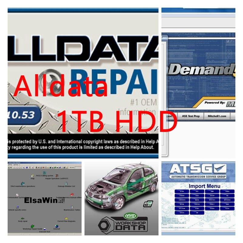 2019 Todos Os dados de software de reparação automóvel Alldata 10.53 e Mitchell em software demanda + Vívida oficina de dados + + ATSG elsa 1 TB HDD DHL livre