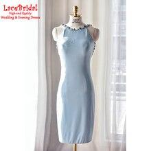 Sexy Gugel Zurück Real Gerade Mini Perlen Quasten Hellblau Cocktailkleider 2016 mit Strass Kurze Partei Prom Kleider TC32