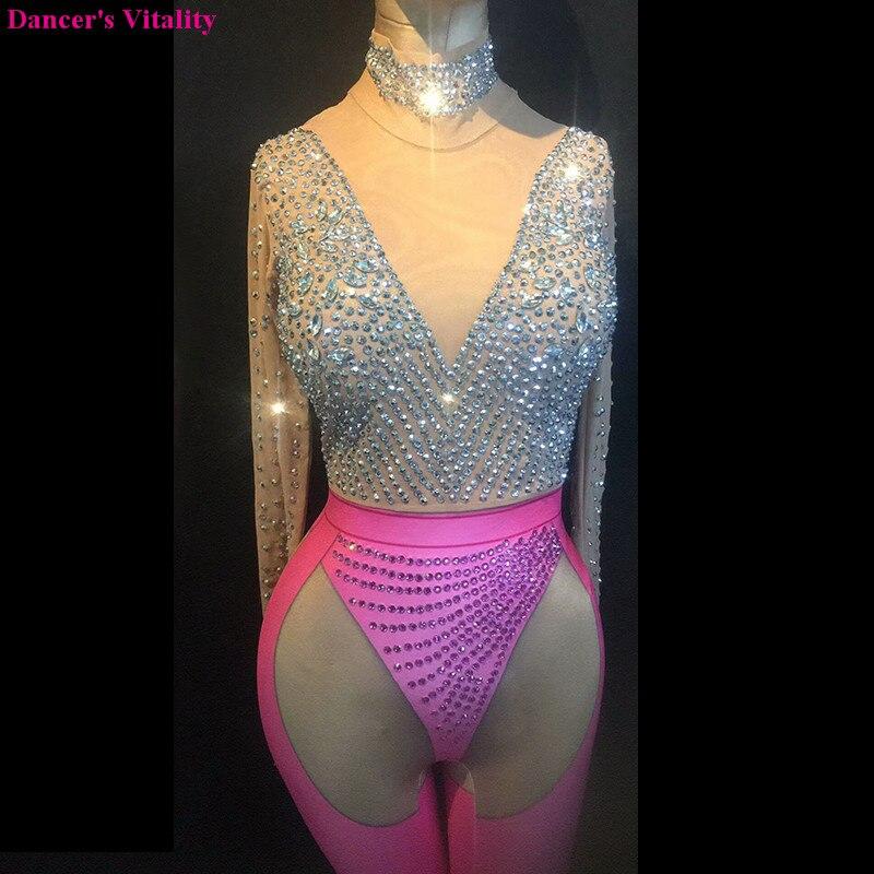Sexy DS danse combinaison Sparkly body scène porter des femmes célébrer femme chanteuse translucide une pièce grande tenue extensible