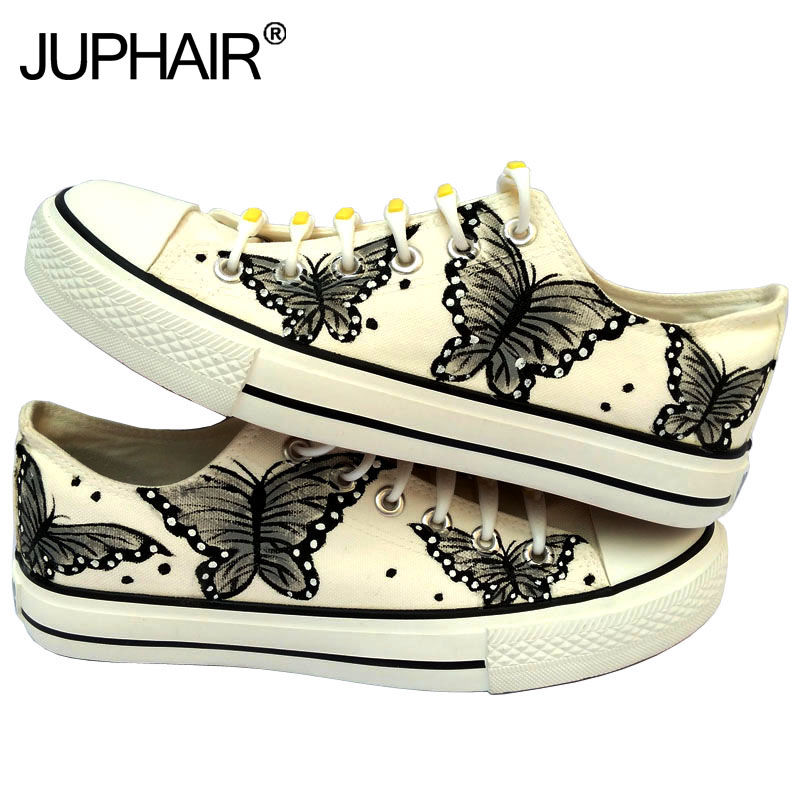 ФОТО JUP Mens Animated Cartoon Anime Butterfly Despicable Me Minion Shoes Couples Hand Painted Canvas Shoes Casual White Tie Shoelace