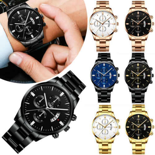 Luxury Mens Watches Quartz Stainless Steel Analog Sports New Wrist Watch UK Unisex Watch Businessman Watch