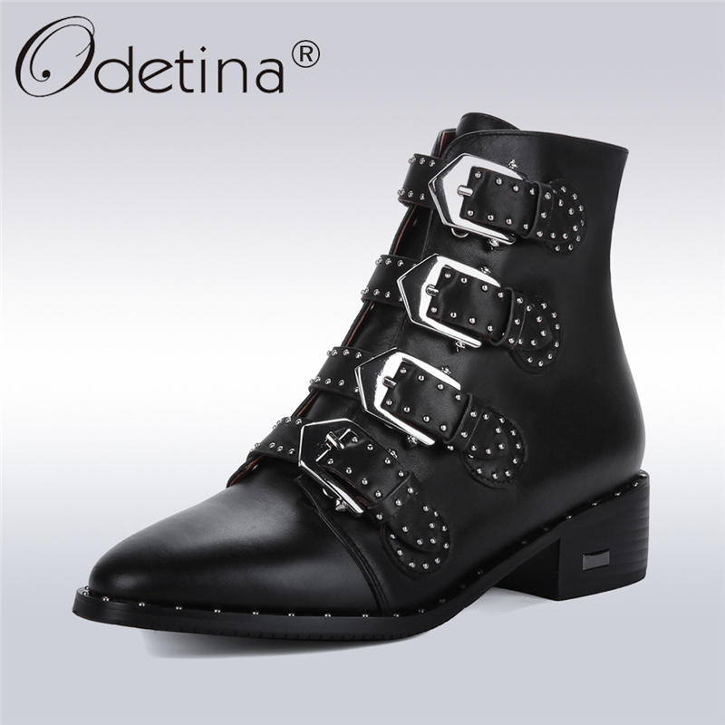 Odetina 2017 New Fashion Women Genuine Leather Motorcycle Rivets Ankle Boots For Ladies Buckle Booties Chunky Heel Big Size 43 odetina 2017 new fashion genuine leather women platform flat ankle boots lace up casual booties autumn winter shoes big size 43