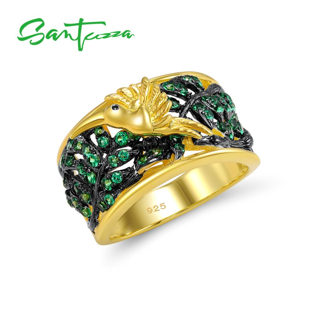 SANTUZZA Gold Plated 925 Sterling Silver Rings Round Green Spinel Party Engagement Wedding Anniversary Ring For Women Sterling