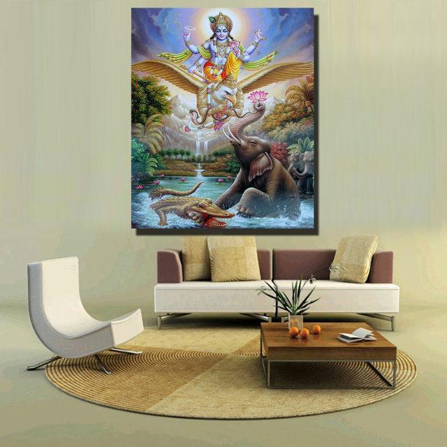 CHENFART Buddha Wall Art Pyreaus Inspired Manifestation Garuda Oil Painting  World Full Wall Art Canvas Prints