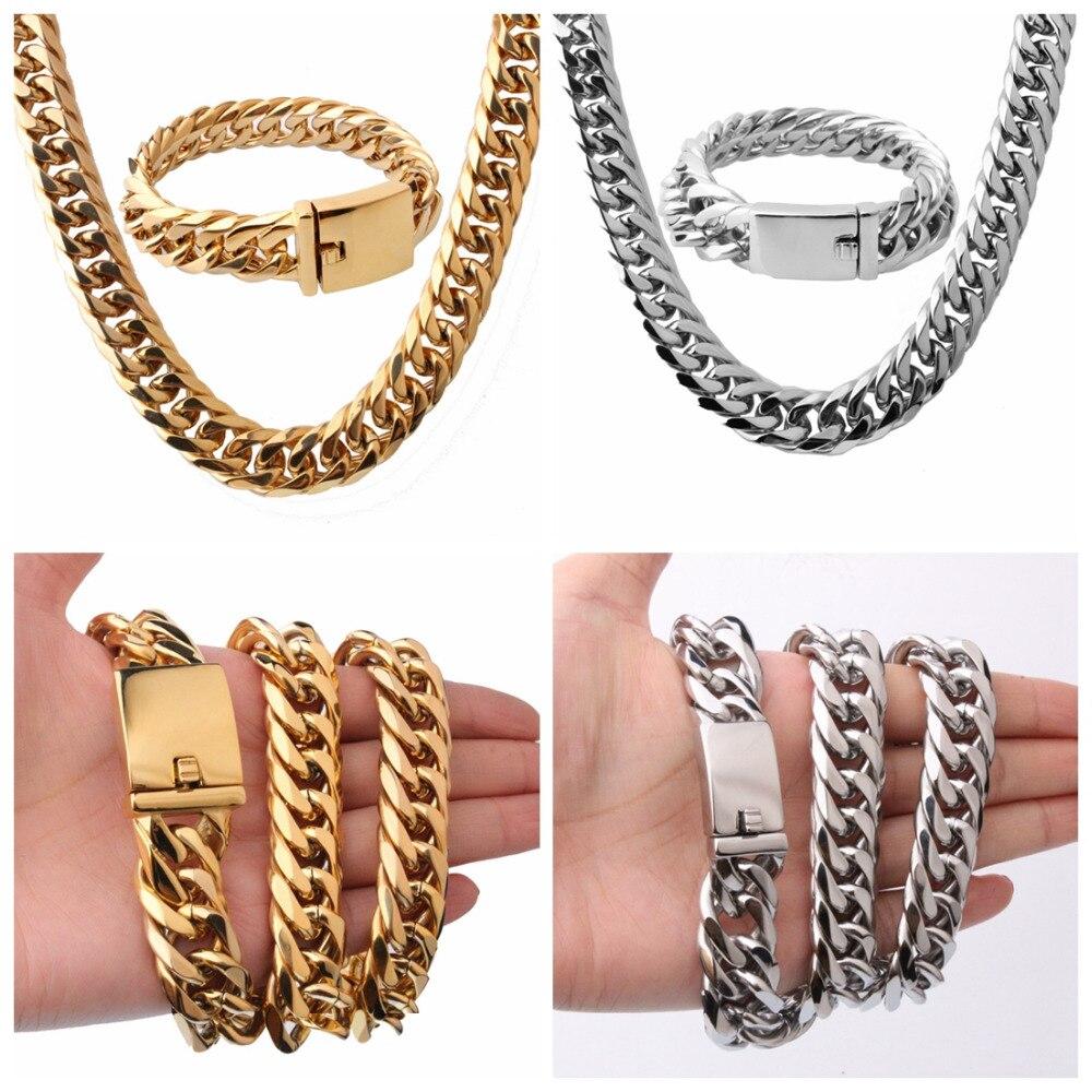 16mm de large Double gourmette chaîne à maillons cubains hommes forts en acier inoxydable collier et Bracelet bijoux ensembles argent or couleur accessoire