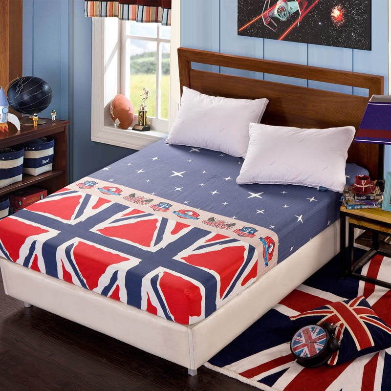 Comwarm 100% Cotton Mattress Cover American Style Cartoon Printing Bed Protector Fitted Sheet Matress Topper Suitable Home Hotel