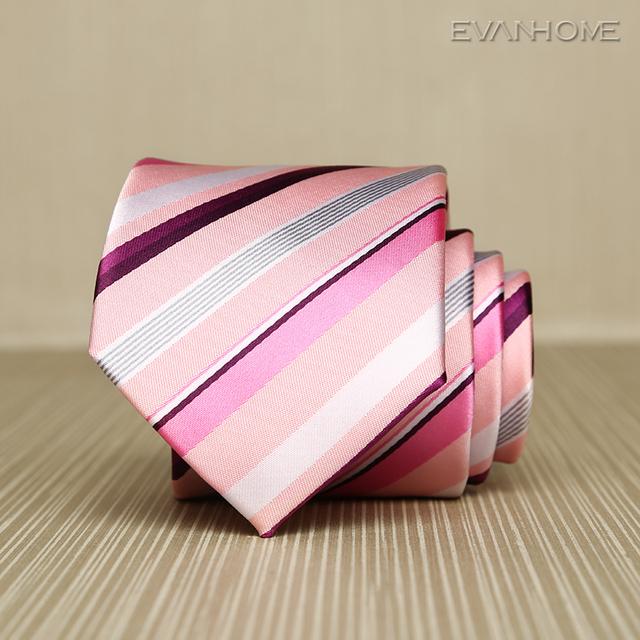 Alta Qualidade Rosa Roxo Listras Gravata Laços para Homens 7 cm de Largura 2017 Nova Marca Coreana Moda Negócios Gravata para Terno Gravata