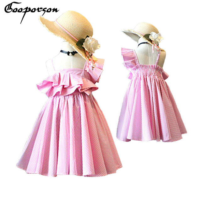 7215256d10ed6 US $9.9 |New Fashion Girls Pink Striped Dress Princess Summer Dress Lotus  Girls Party Dresses Baby Kids Cute Strap New Design Dresses-in Dresses from  ...