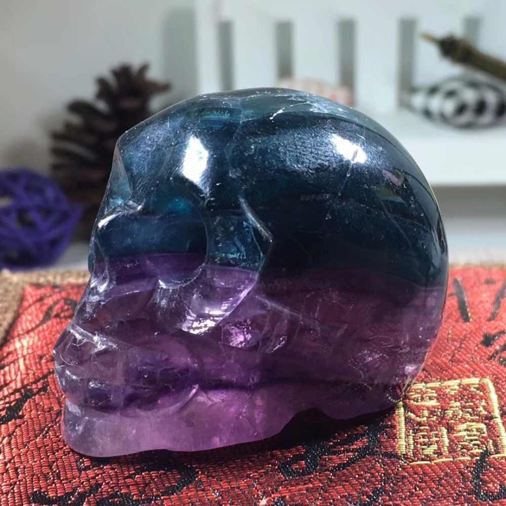2 นิ้วสีธรรมชาติ Fluorite Handmade Skull หยก Skull อัญมณีแกะสลักคริสตัลคริสตัล Healing Reiki Home Decor หินคริสตัล Craft