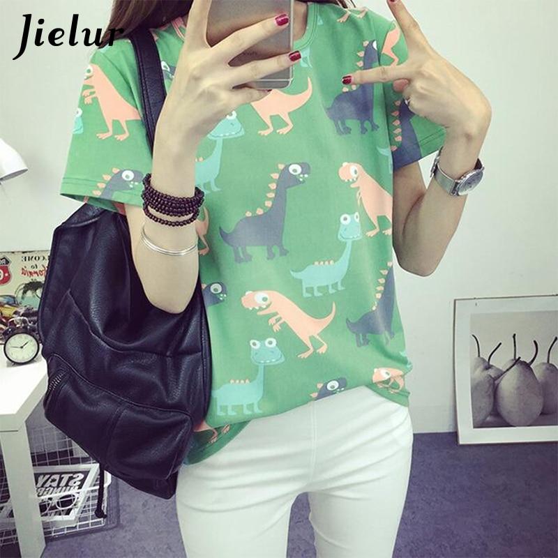Jielur الكورية الرجعية الحيوان ديناصور الطباعة تي شيرت المرأة الصيف اليابانية المتناثرة نمط قصيرة الأكمام الإناث t-shirt قمم S-XL
