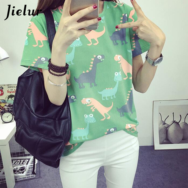 Jielur coreano Retro Animal impresión de dinosaurio camiseta mujeres del verano japonés estilo Harajuku manga corta camiseta femenina Tops S-XL