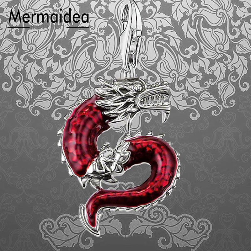 Red Dragon Charms Pendant Fashion Jewelry 925 Sterling Silver Ethnic Gift For Women Men Boy Girls Fit Bracelet Necklace Bag