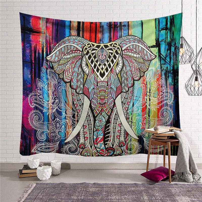 <+>  Мандала Гобелен Животное Индийский слон с узором на стене Коврик для йоги Пляжное полотенце Йога Оде ★