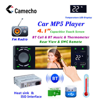 Camecho 4 Bluetooth Car Radio Touch Screen 1 Din Mirror Link Autoradio MP5 Video Player USB AUX Audio Stereo Rearview Camera