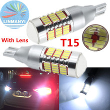 NEW 2PCS High Power T15 30W Car Auto LED Backup Reverse Lights T15 921 912 W16W 60 SMD 4014 Canbus Error Free Reverse Lamps lens