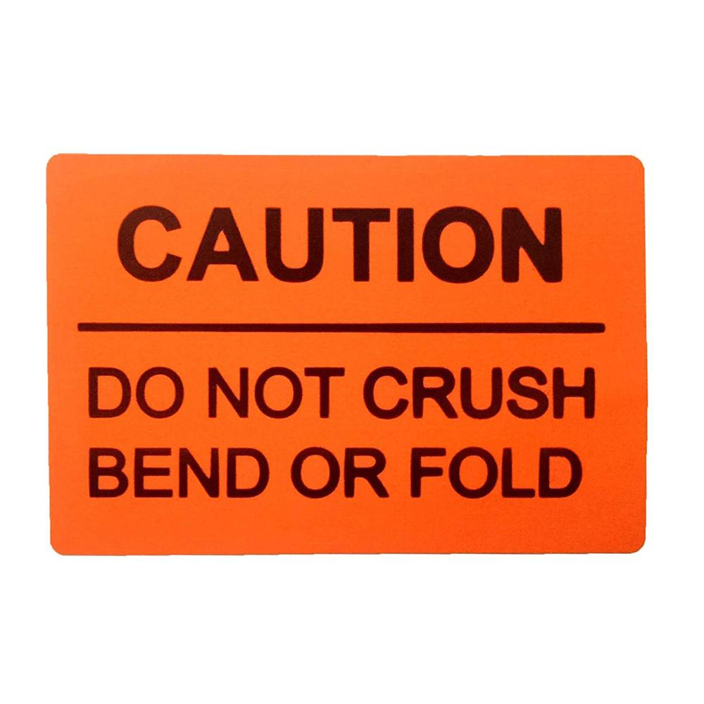 2019 New Trend Fluorescent Orange Red DO NOT Crush Bend OR FOLD Caution Warning Shipping Labels,2