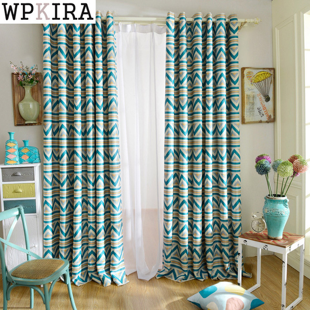 Blue Striped Printed Blackout Curtains For Living Room Bedroom Modern Window  Curtains Shade Curtains Kitchen Curtains