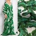 100D шифон, банановые листья печати Ботанический сад шелк шифон ткани, fashion show женщины платье мягкий шифон ткани