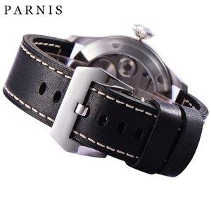 Image 5 - Mode main vent mécanique montres mâle 46mm Parnis 6498 main remontage mouvement noir cadran blanc chiffres lumineux hommes montre