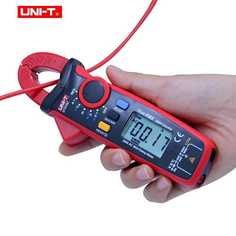 Digital Clamp Meter UNI-T UT210A/B/C/D/E AC/DC medidor de Corrente De Tensão Verdadeira RMS Capacitância Sem Contato Multímetro Gama Auto VFC